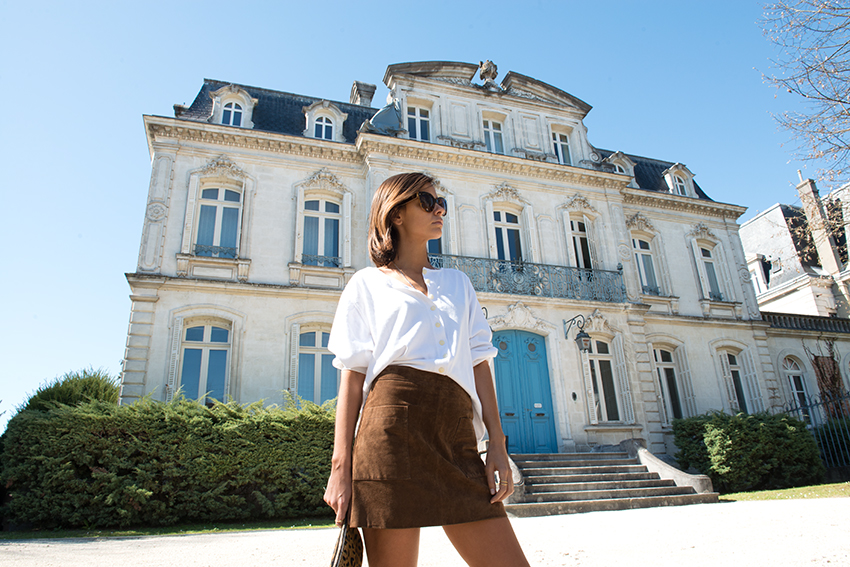 The Petticoat Cognac Mango Skirt and Vintage Blouse France Road Trip  (4)