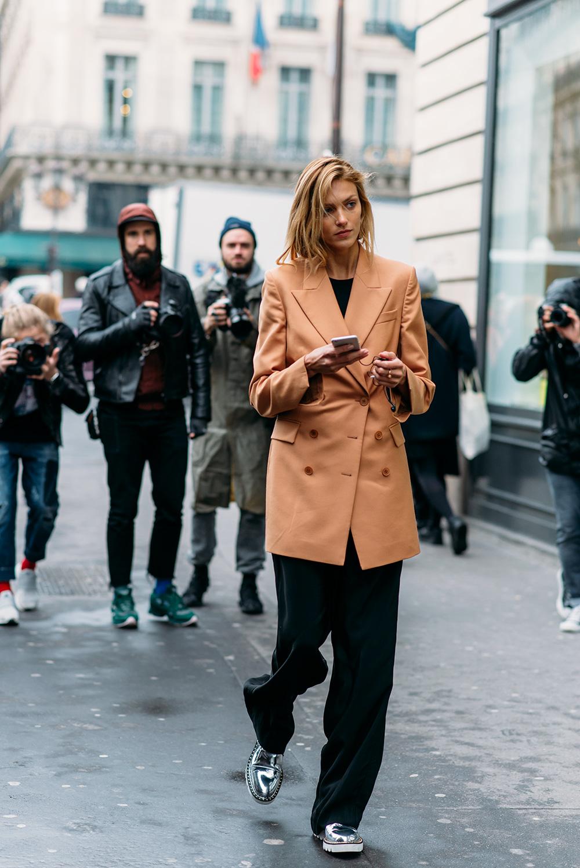 Paris Fashion Week Streetstyle by The Petticoat -Anja Rubik after Stella McCartney Show Paris PFW