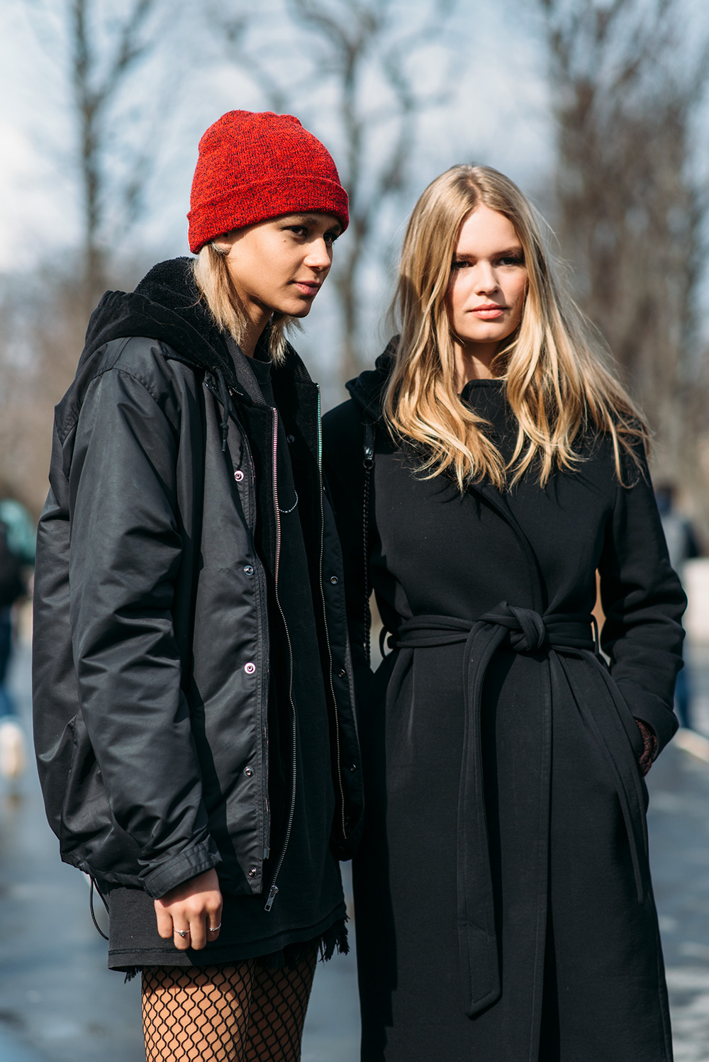 Paris Fashion Week Streetstyle by The Petticoat -Anna Ewers and Binx Walton after Chanel Show Paris Grand Palais PFW