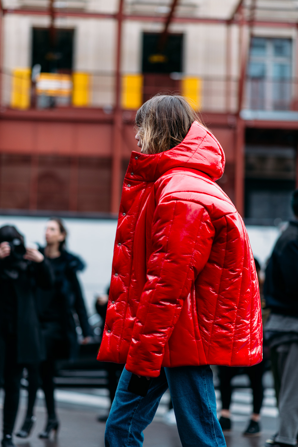 Paris Fashion Week Streetstyle by The Petticoat -Anya Ziourova Big Red Coat Paris PFW