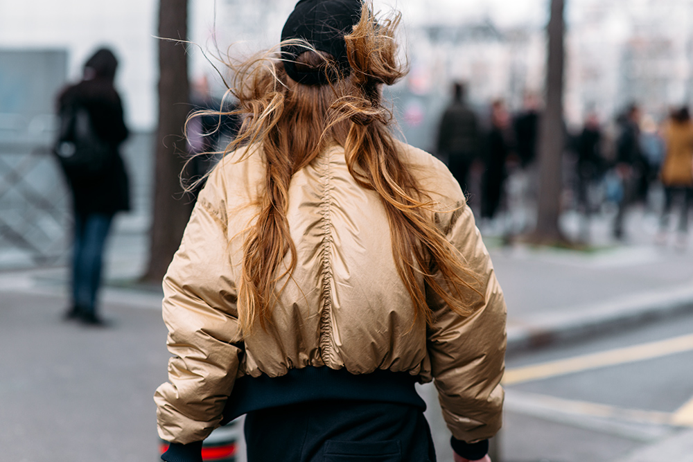 Paris Fashion Week Streetstyle by The Petticoat -Girl after Balenciaga Show Gold Jacket Paris PFW