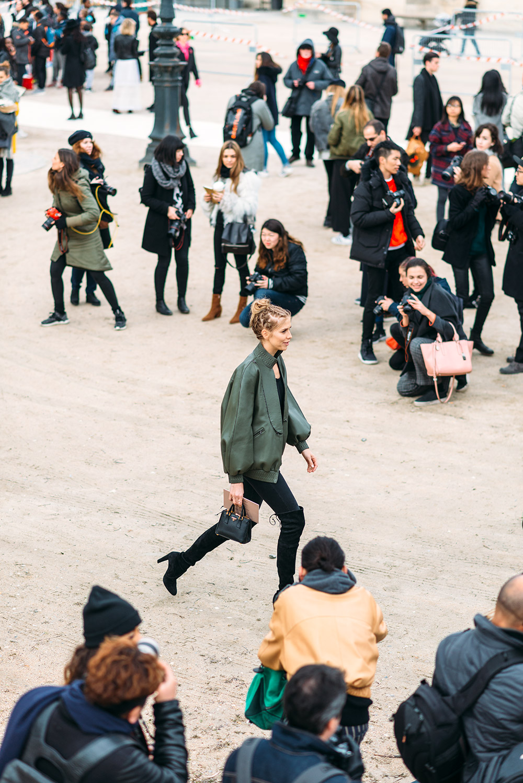 Paris Fashion Week Streetstyle by The Petticoat -Lena Perminova Before Valentino Show Paris PFW Green Bomber Jacket