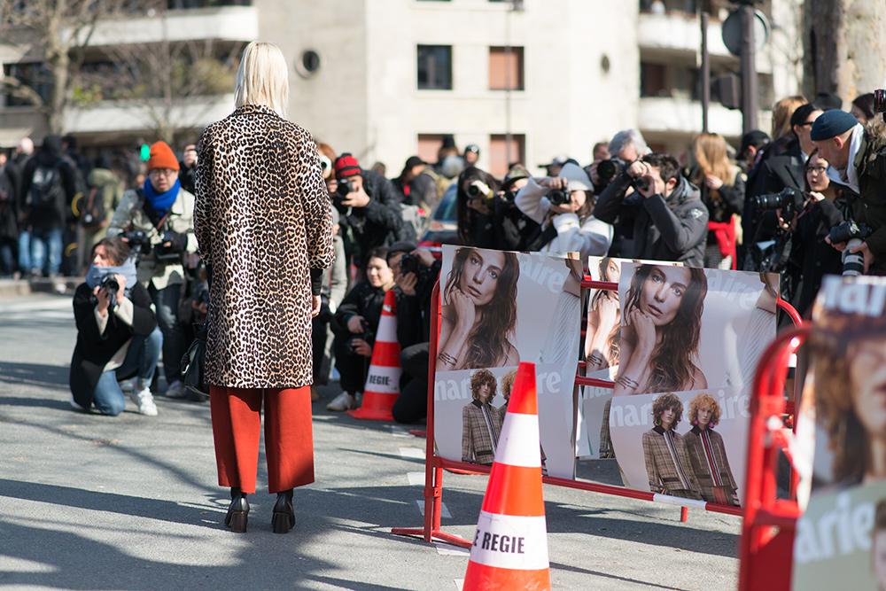 Paris Fashion Week Streetstyle by The Petticoat -Linda Tol before Celine Show Paris Leopard Coat PFW