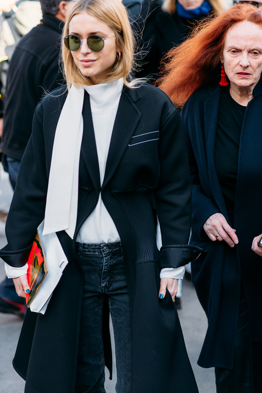 Paris Fashion Week Streetstyle by The Petticoat -Pernille Teisbaek and Grace Coddington after Celine Show Paris PFW