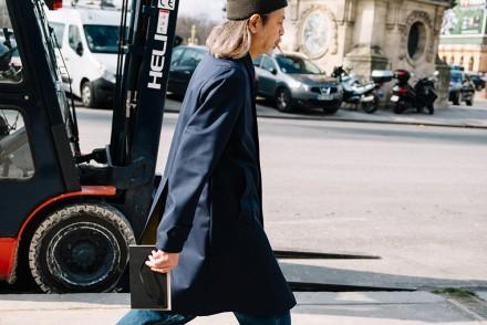 Paris Fashion Week Streetstyle by The Petticoat -Shunichi Mugita Carhartt Beanie and COnverse Shoes after Valentino Show Paris PFW