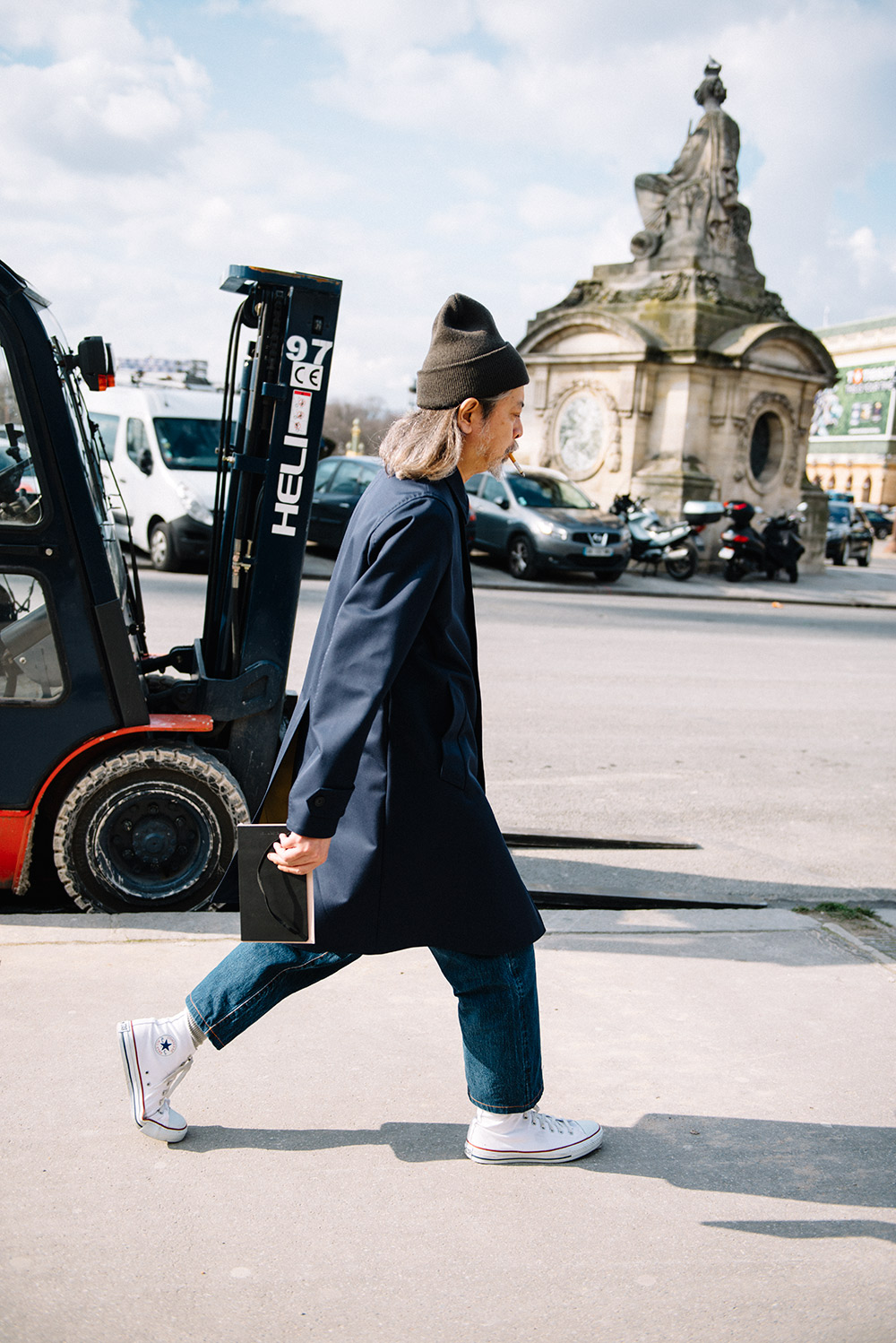 Paris Fashion Week Streetstyle by The Petticoat -Shunichi Mugita Carhartt Beanie and COnverse Shoes after Valentino Show Paris PFW