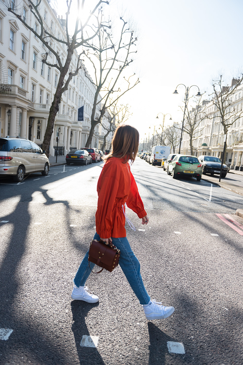 The Petticoat-London Fashion Week 17- Photo Diary -streets of london orange top vans