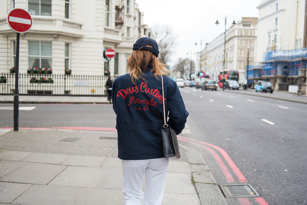 The Petticoat-London Fashion Week 17- Photo Diary -deus ex machina jacket on the street