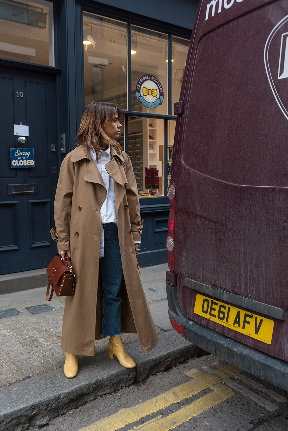 The Petticoat - London Fashion Week 17 -Photo Diary Part sandro bag camel trech yellow boots